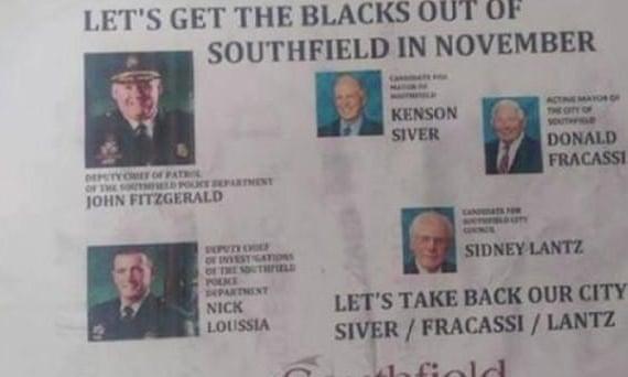 racist flyer detroit southfield