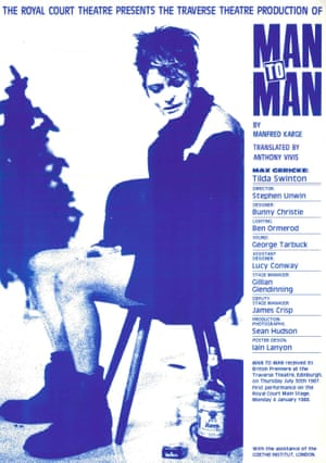 Poster for the Traverse production of Man to Man starring Tilda Swinton.