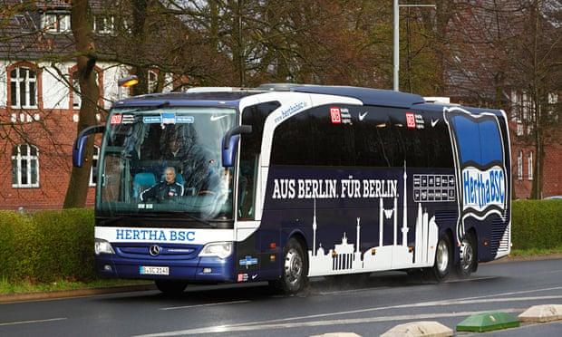 hertha berlin team bus shot at in germany. Black Bedroom Furniture Sets. Home Design Ideas
