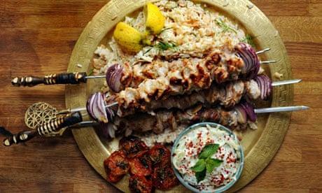 Allegra McEvedy G2 weekly recipe: Pork souvlaki, almond rice and tsatsiki