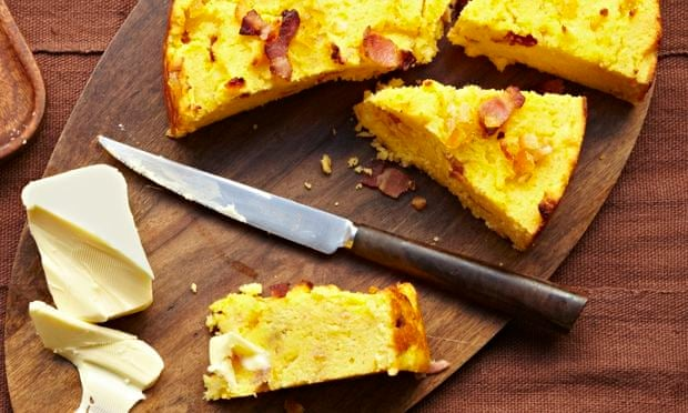 Bacon cornbread with mixed peel. Photograph: Clare Winfield/Guardian