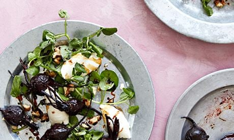 Roasted beetroot, walnut, watercress and mascarpone salad recipe