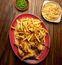 Nando's peri-peri chicken and chips with macho peas and coleslaw ...