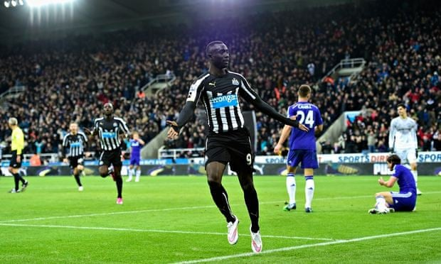 Papiss Cissé after scoring his and Newcastle second goal against Chelsea in the Premier League match