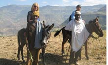 Hilary Bradt, right, with a friend in Ethiopia in 2010.