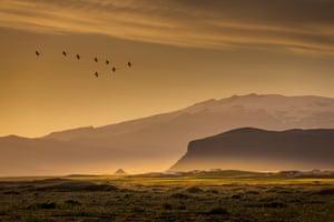 Sunset over Eyjafjallajokull Glacier, Iceland. Image shot 2014.