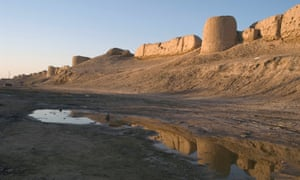 The Ancient city walls of Merv, Mary Turkmenistan in the late afternoon