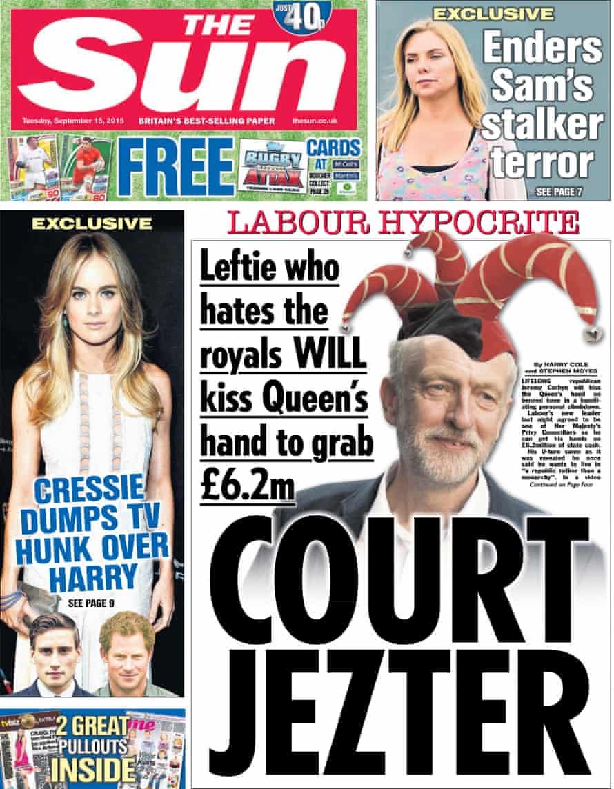 Sun front page on 15 September