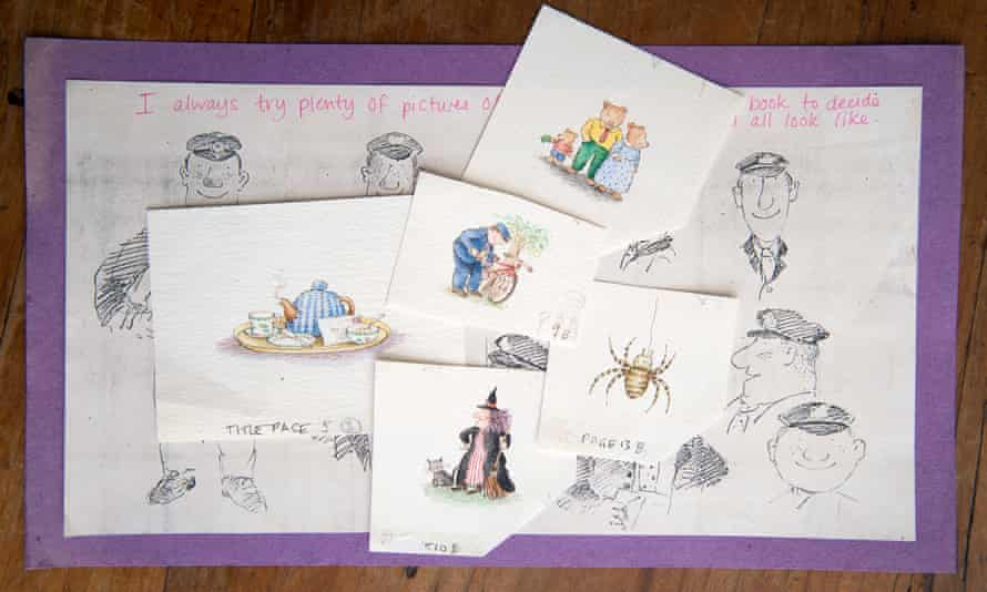 Preparatory notes and artwork by Janet and Allan Ahlberg's The Jolly Postman.