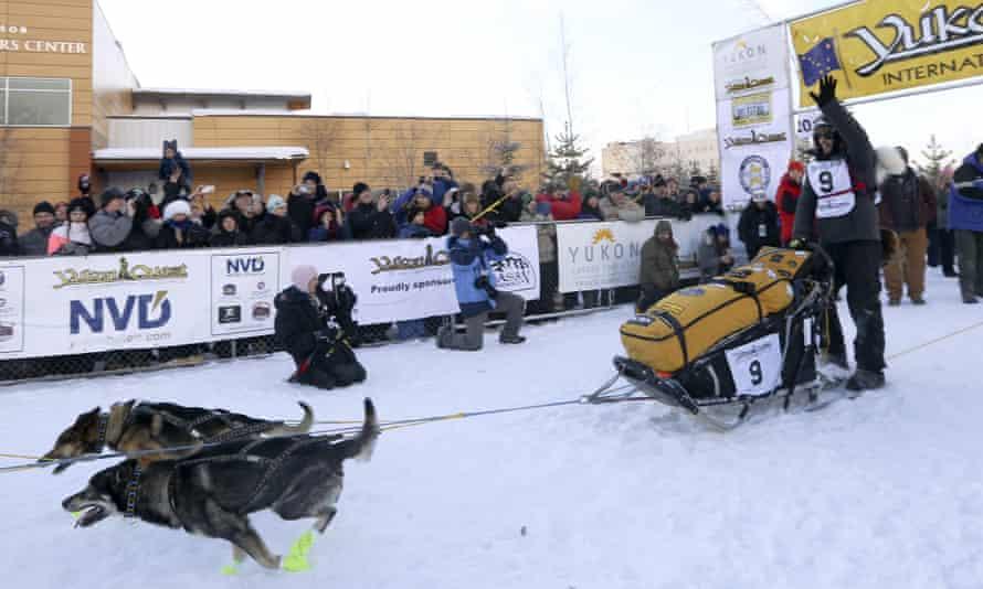 Defending champion Brent Sass leaves the start chute to begin the Yukon Quest sled dog race on 6 February in Fairbanks, Alaska.