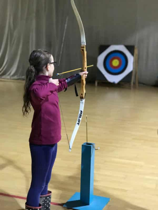 Adam's daughter tries out archery at Kingswood centre, South Yorkshire