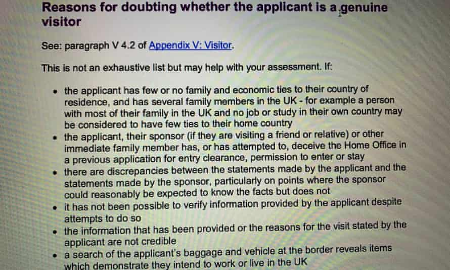 Guidelines for border officials on assessing the reasons for entry to the UK by a visitor