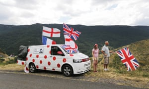 The best climbing van is parked up next to some British fans, waiting for the peloton on stage 15 between Mende and Valence