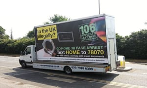 One of home secretary Theresa May's 'Go home' vans. Photograph: Home Office/PA Wire