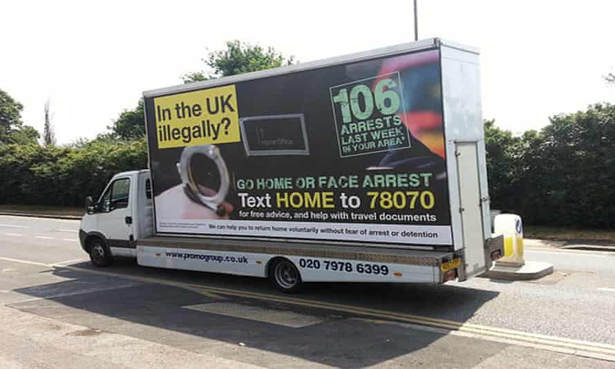 """Mobile advertising vans carrying messages telling illegal immigrants to """"go home or face arrest""""."""