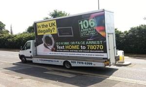 An immigration enforcement campaign van in 2013.