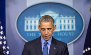 An emotional president Barack Obama speaks after the shooting deaths of nine people at a church in Charleston, South Carolina.