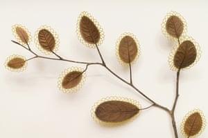 Awakenings (detail), a leaf sculpture by Susanna Bauer