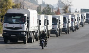 Trucks from the Syrian Arab Red Crescent set off from Damascus on their way to Madaya