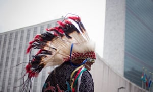 Travis Mazawaficuna of the Dakota Nation (Sioux) Native American tribe arrives with others to the International Day of the World's Indigenous Peoples outside the United Nations in 2013.