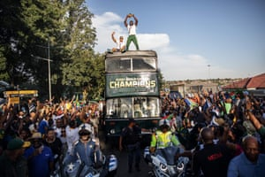 South Africa captain Siya Kolisi celebrates winning the Rugby World Cup with fans in November 2019.