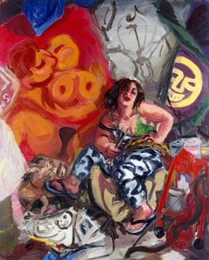 Wendy Sharpe is one of 10 women to have won the Archibald Prize since 1921. This unabashed self-portrait, in which she humorously assumes the guise of the Roman goddess Diana, was the first self-portrait by a female artist to win the award.Oil on canvas (1996)