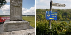 """The memorial stone marking the site of the ground at Broadhalfpenny Down where Hambledon Cricket Club, known as """"the cradle of cricket"""", played the first ever first class game of cricket in 1772."""