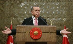 Turkish president Recep Tayyip Erdoğan address local administrators in Ankara on Wednesday.