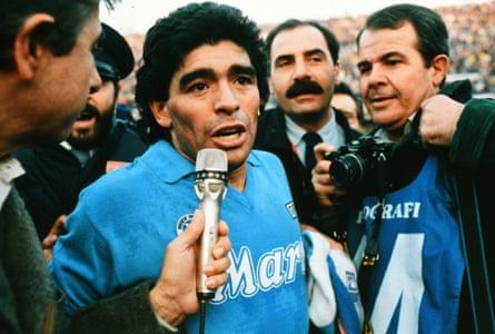 Diego Maradona at the Stadio Sao Paulo in 1988.
