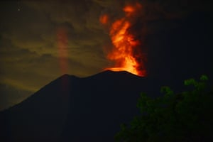 The eruptions seen at night from Kubu sub-district in Karangasem