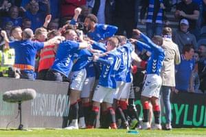 Rangers celebrate.