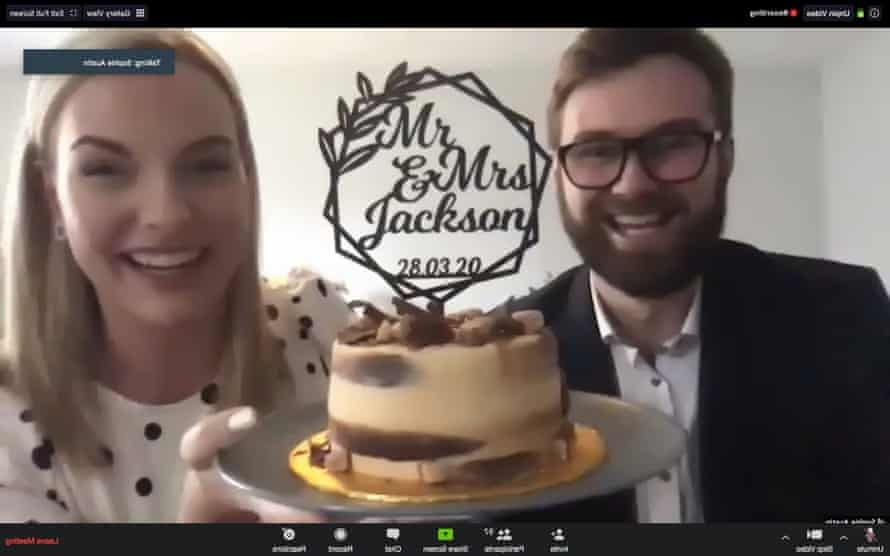 Ben Jackson and Sophie Austin celebrated their wedding on Zoom last month.