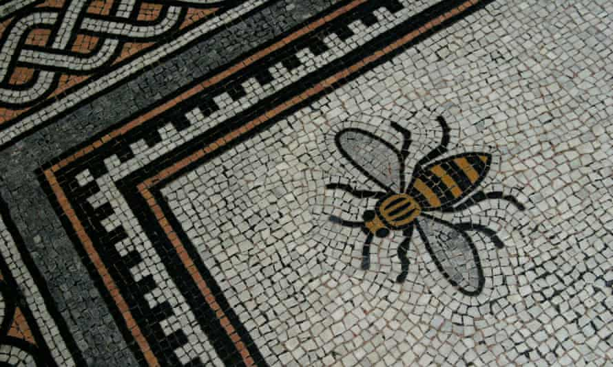 The Manchester bee emblem on the floor of the city's town hall.