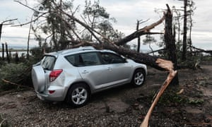 A car crushed by fallen trees in Nea Plagia.
