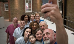 Jeremy Corbyn poses for a selfie with NHS nurses, student nurses and midwives, after meeting them at Unison HQ to discuss Labour's election guarantee for NHS staff.