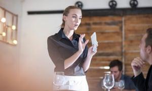 waitress talking to customer