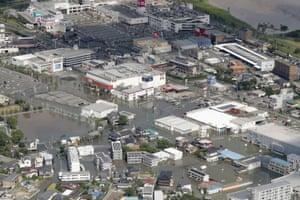 Streets are flooded in Kurume, in Fukuoka prefecture