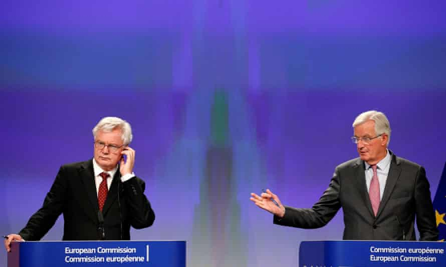 David Davis and Michel Barnier at their joint press conference in Brussels on Thursday.