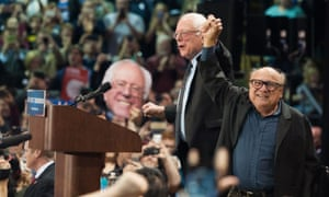 Danny DeVito and Bernie Sanders at a rally in St Louis, Missouri, on 13 March 2016. The actor recently endorsed the senator for the 2020 election.