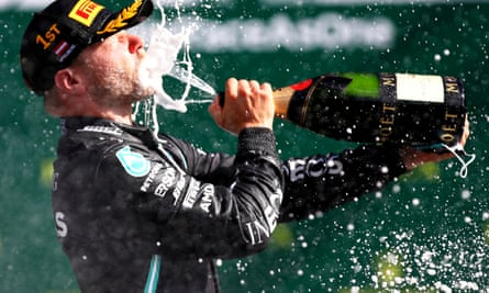 Valtteri Bottas after winning the Austrian Grand Prix. The driver went home afterwards before returning for this weekend's race but says he did not break any regulations.