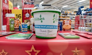A bucket for food bank donations at a supermarket.