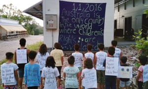 Children from the refugee and asylum seeker community on Nauru take part in a protest against continuing detention and Australia's immigration policies. Photo supplied