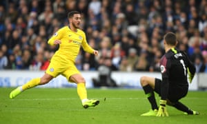 Eden Hazard doubles Chelsea's lead at Brighton's Amex Stadium having set up the first goal for Pedro.