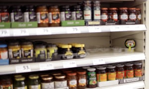 A single jar of Marmite remaining on the shelf of a Tesco store in Victoria, London.