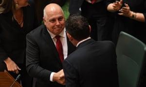 Tim Pallas is applauded after his budget speech