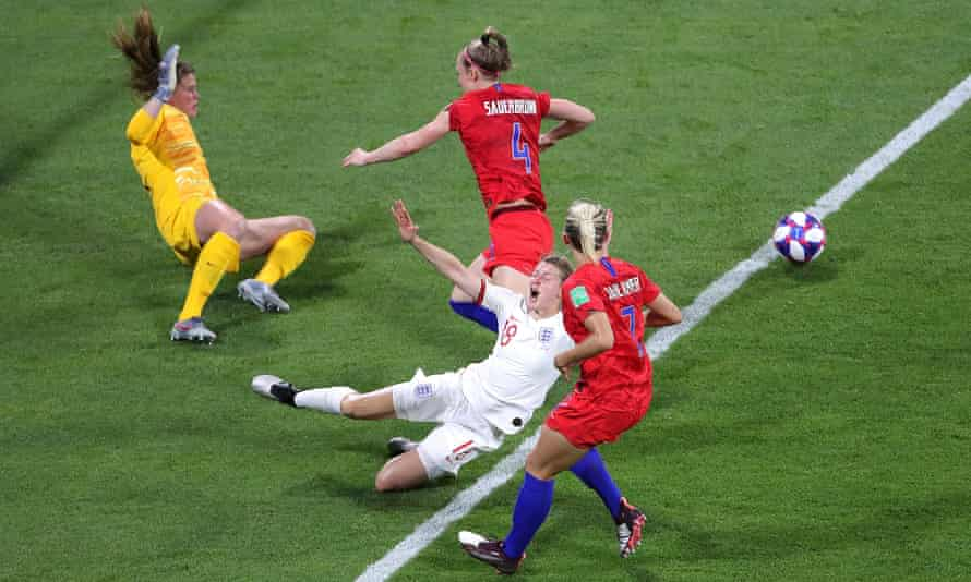 Ellen White is fouled by Becky Sauerbrunn in the 2019 World Cup semi-final. Abby Dahlkemper (right) is now a teammate at Manchester City.