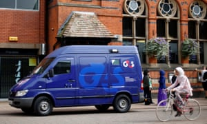 A G4S security van parked outside a bank in Loughborough, central England