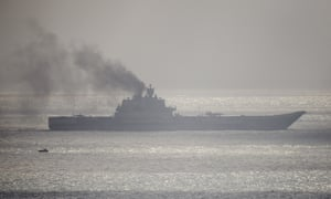 The Russian aircraft carrier Admiral Kuznetsov passing through the English Channel on 21 October 2016 near Dover