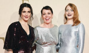 Rachel Weisz, Olivia Colman and Emma Stone at the premiere of The Favourite.