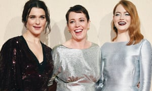 Rachel Weisz, Olivia Colman and Emma Stone at the BFI London Film Festival premiere of The Favourite.